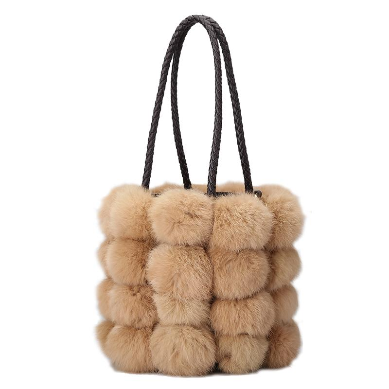 Female Winter Bag Real Fur Rabbit Hair Fur Tote Luxury Handbags Women Bags  Designer Famous Brands Women Shoulder Messenger Bag Pink Handbags Branded  ... 94b900c683b20
