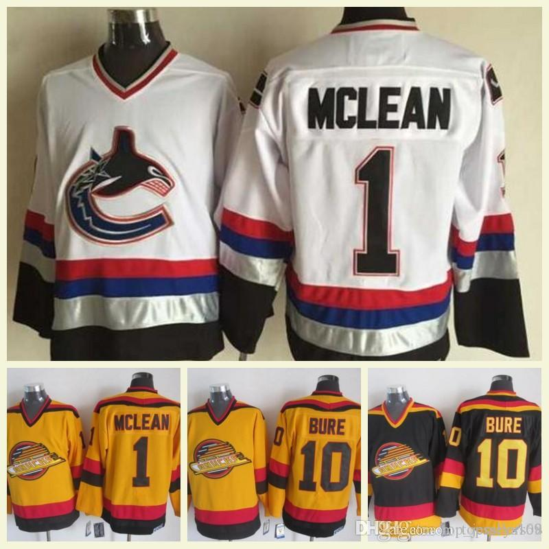 new arrival 2e8ca 45e4a 2018 Mens NHL Jersey 10 Bure 1 Mclean Black White Gold CCM Vintage Hockey  Jerseys 100% Stitched Embroidery Logos High Quality