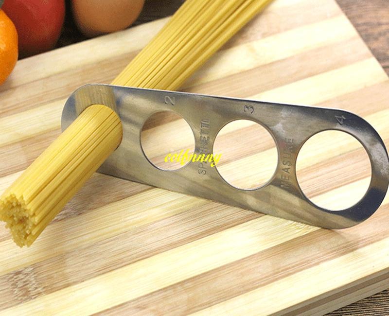 100 unids / lote envío rápido pasta de acero inoxidable medidor de espaguetis herramienta de medida de la cocina Gadget Portion Control Noodles Medidor