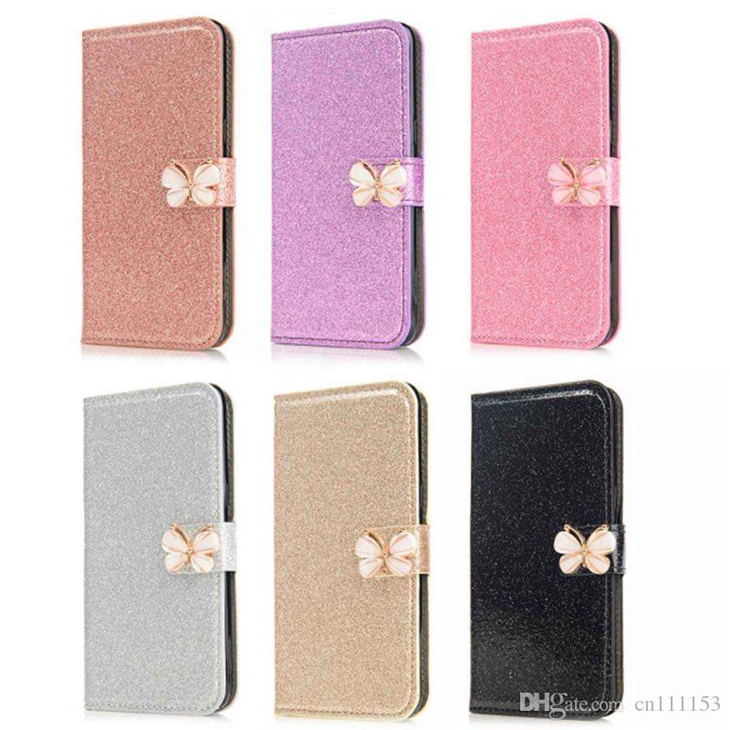 For Samsung Note 8 S9 S9 Plus S8 S8 Plus S7 Edge S6 Edge S5 Card Holder Wallet Glitter Shine Butterfly Case