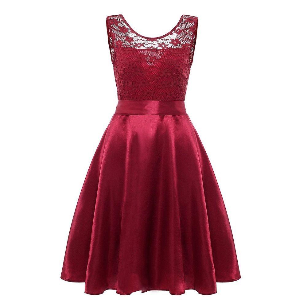 e080e88e0 Compre Vintage De Encaje Rojo Sexy Swing Midi Dress Femenino 2018 Nuevo Sin  Mangas Bowknot Backless Fiesta De Noche Elegante Negro Caliente Vestidos De  Las ...
