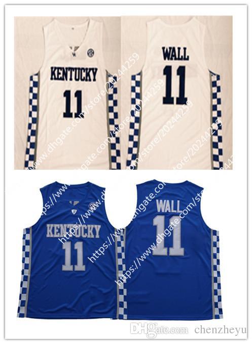 Men s Kentucky Wildcats Jersey  11 John Wall Blue White College ... ba011697f