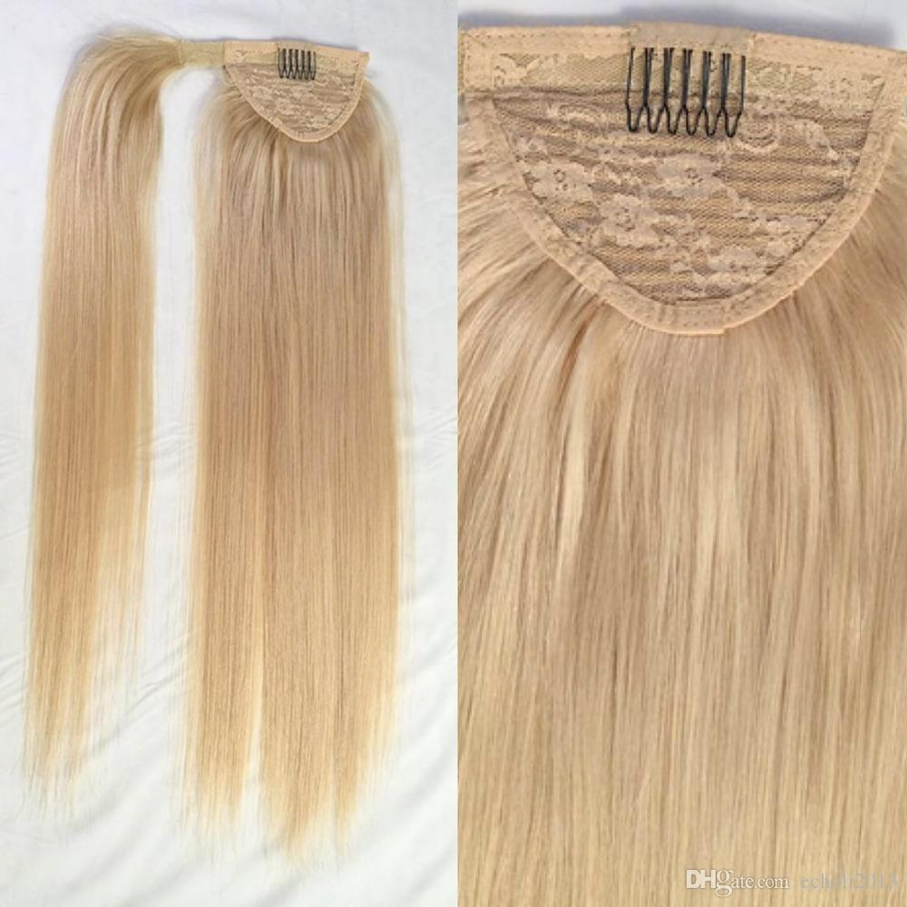 Wholesale price blonde pony tail Clip in strawberry blonde straight virgin brazilian hair drawstring ponytails hair extensions 120g
