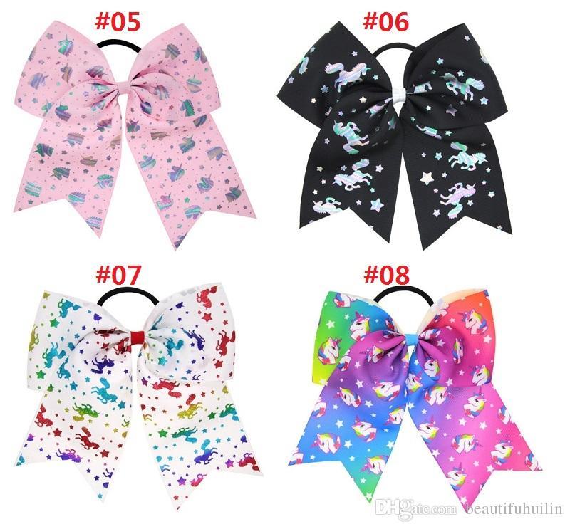 7 Inch Unicorn Heart Print Cheerleading Ribbon Bows Cheer Bows Tie With Elastic Band/Girls Rubber Hair Band Beautiful HuiLin DW83