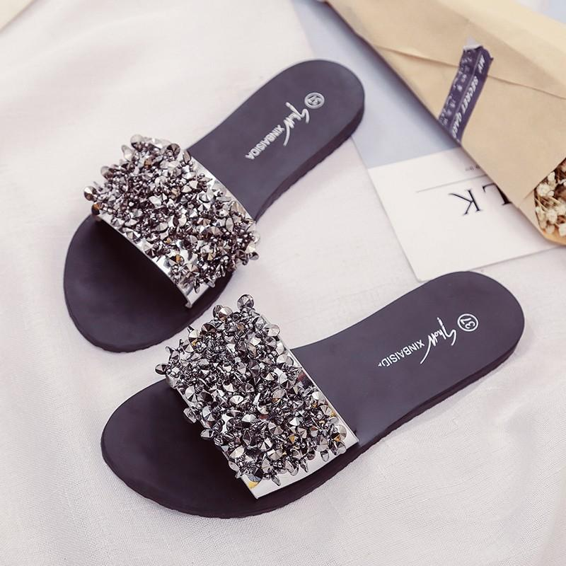 f82236aca2c Silver Rhinestone Slippers Women Slides Summer Beach Fashion 2018 Sandals Rivet  Casual Flats Ladies Shoes Sandals Shiny High Heel Shoes Designer Shoes From  ...