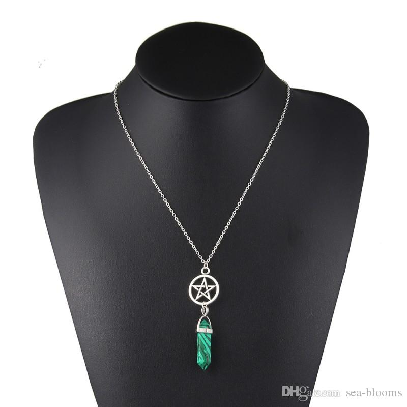 Hexagonal Column Necklace Natural Crystal Turquoise Agate Amethyst Stone Pendant Chains Necklace Women Gift Free DHL G384S