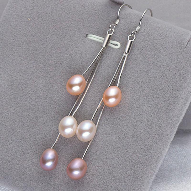 YIKALAISI 2017 moda orecchini orecchino 100% naturale perla d'acqua dolce orecchini lunghi 925 gioielli in argento sterling le donne migliori regali