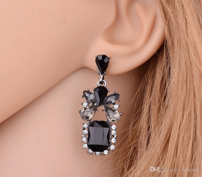 a17f73cb4 2019 New Style Black Block Earrings Made With Swarovski Crystal Fine  Jewelry Inlaid Austria Crystal Glittering Not Fading Brand Ear Studs From  Liruoyu, ...