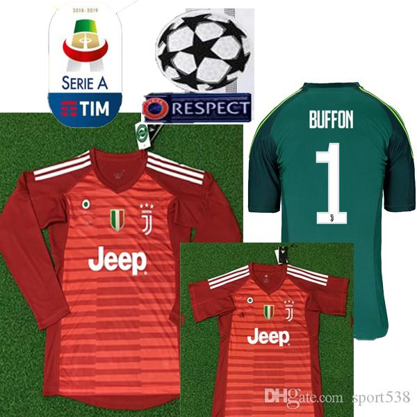 new arrival b5848 25978 italy juventus 1 buffon red goalkeeper soccer club jersey ...