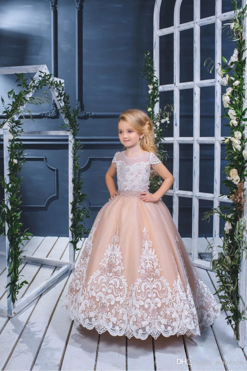 Pretty Ball Gown Flower Girls Dresses For Weddings 2018 Lace Appliqued Puffy Skirts Communion Dress Short Sleeve Little Kids Birthday Gowns