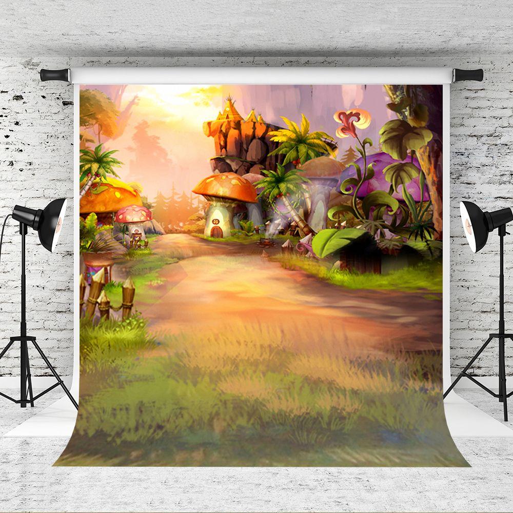c5b0599d9769 Dream 5x7ft /150x220cm Fantasy Forest backdrop Cartoon Mushroom Hourse  Background for Children Forest Theme Birthday Party Backdrops Studio