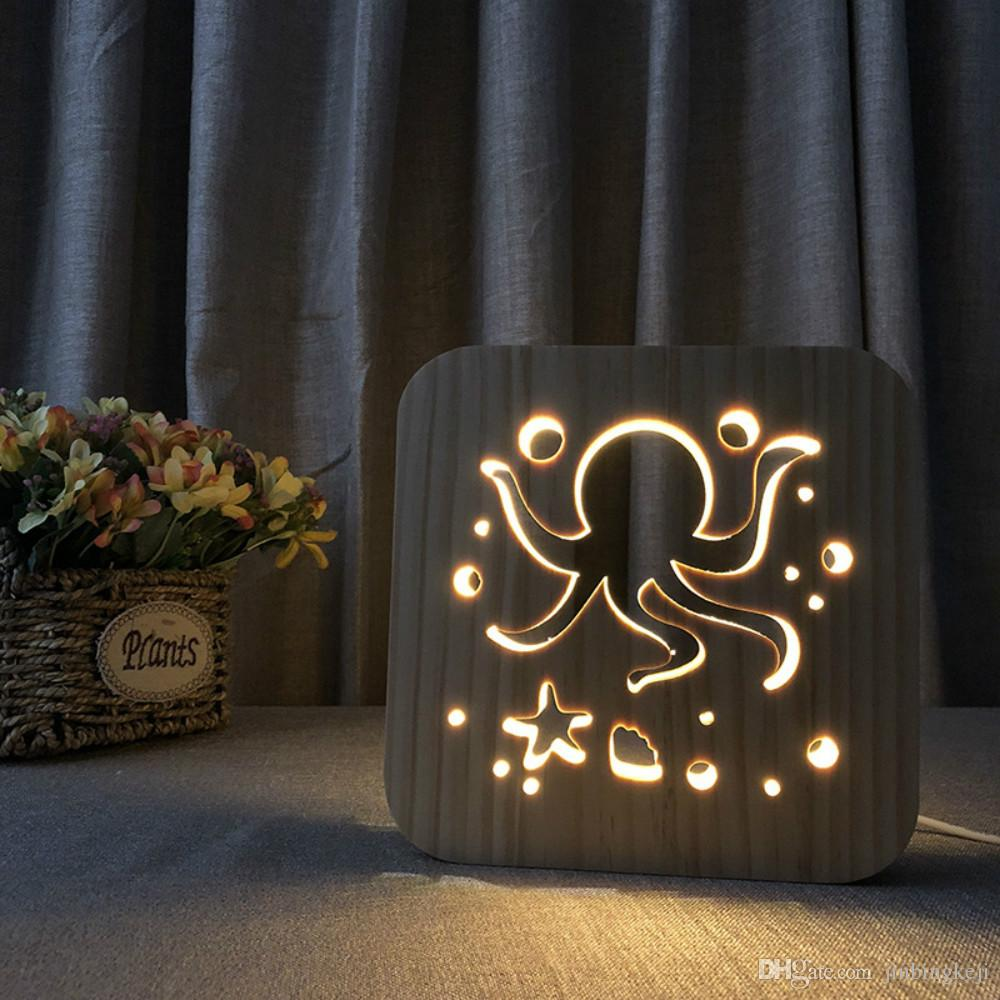 Grosshandel Octopus Led 3d Licht Lampe Holz Nachtlicht Usb Power