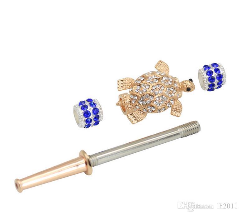 Портативный трехцветный черепаха шаблон с металлической трубой съемный набор для курения