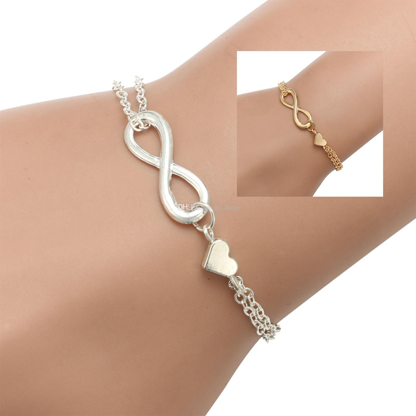f18f2d0e Moda de plata chapado en oro infinito encantos pulseras para mujeres amante  del corazón joyería barata fiesta buen regalo