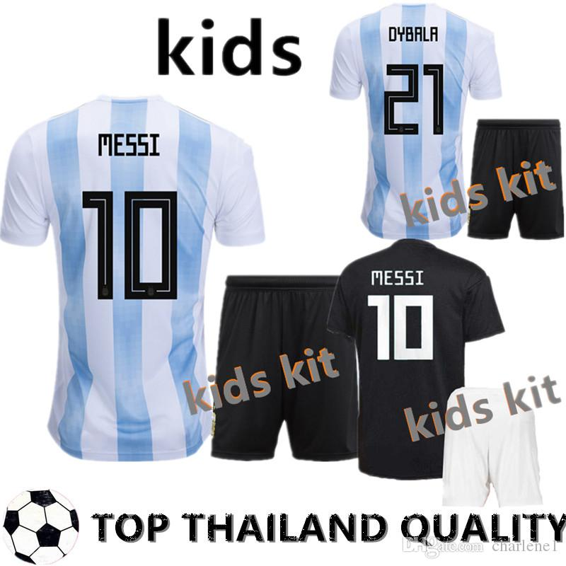 ab703b2bc24 2019 Kids 2018 World Cup MESSI ICARDI Argentina Home Soccer Jersey Kits  DYBALA AGUERO DI MARIA HIGUAIN BIGLIA 2017 Away Child Football Shirts From  Charlene1 ...