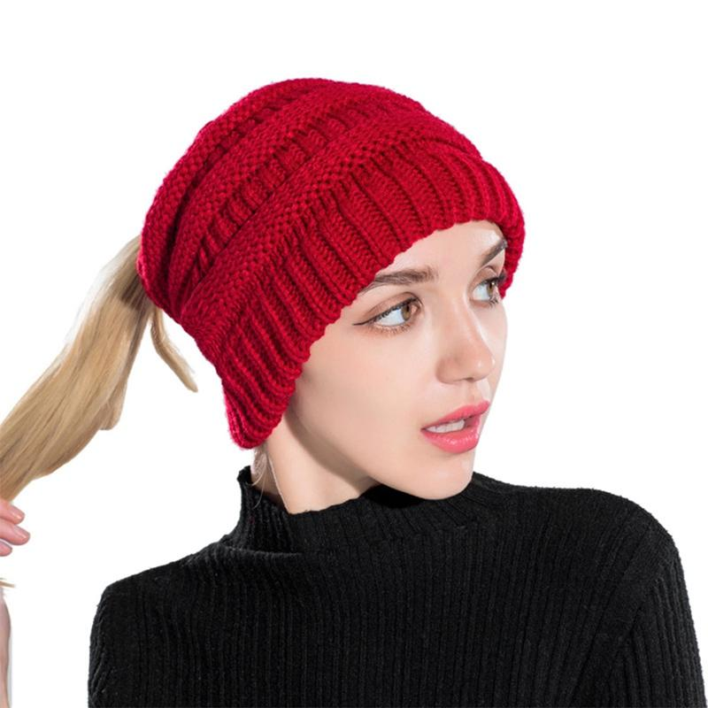 b4af0230ab0 Ponytail Beanie Winter Hats For Women Crochet Knit Cap Skullies Beanies  Warm Caps Female Knitted Stylish Hat Ladies Fashion Canada 2019 From  Clintcapela