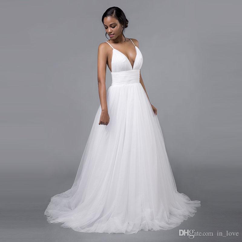 Sexy Vestidos De Casamento Spaghetti Straps Decote Em V Profundo Plissado Tule Uma Linha Sem Encosto 2019 Vestidos De Noiva De Casamento De Verão Custom Made