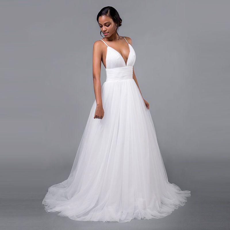 Vestidos de novia sexy Correas espaguetis Cuello en V profundo Tul plisado Una línea Sin respaldo 2019 Boda de verano Vestidos de novia por encargo