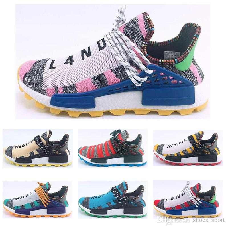 new product 11627 3aee2 2018 Human Race TR Men Running Shoes Pharrell Williams jogging shoes Human  Races Pharell Williams Mens Womens Trainers Sports Sneakers 36-47