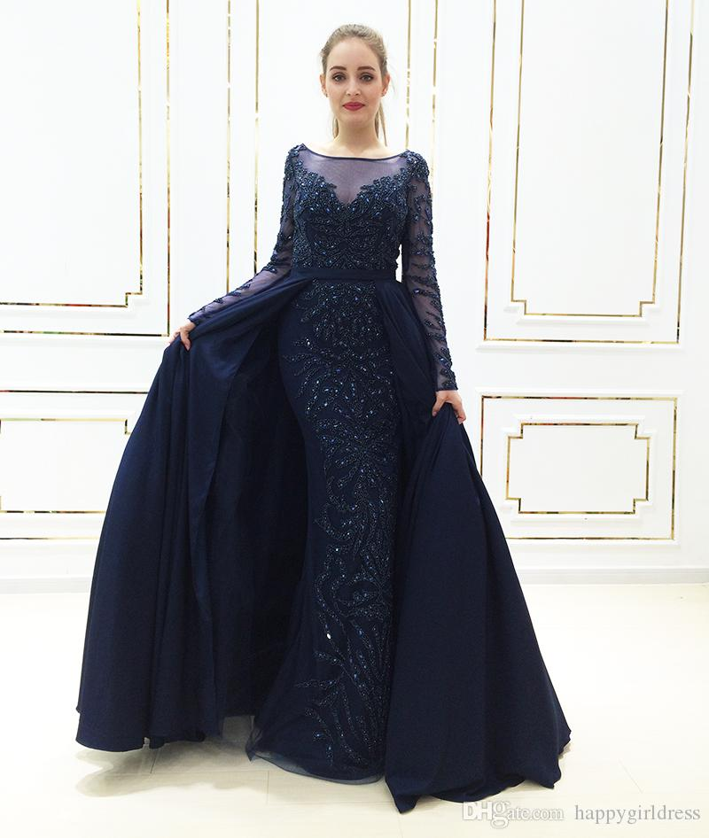 Real Photo Luxury Navy Evening Dress 2019 New Mermaid Beads Crystal Robe De  Soiree Long Sleeves Women Arabic Formal Party Gown Prom Dress Buy Dress  Designer ... 6cd76cdeea28