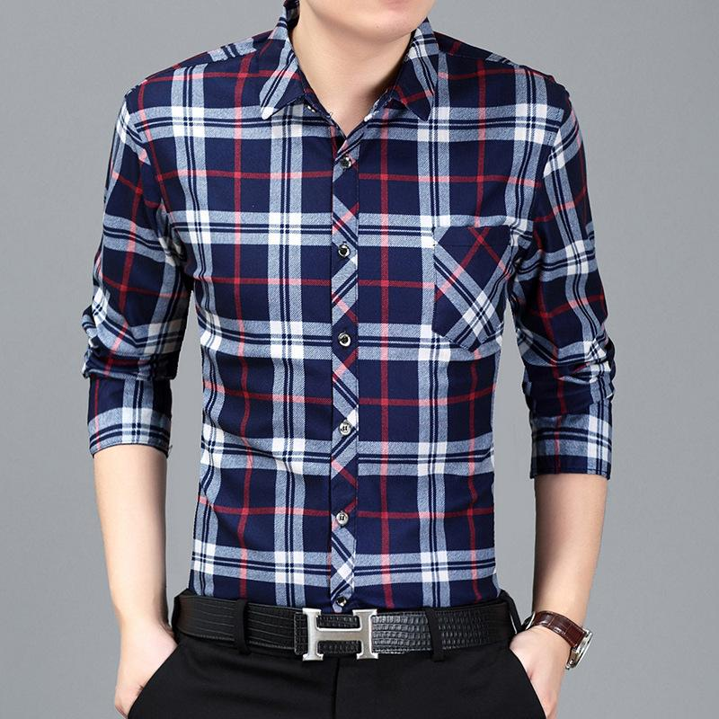 5124a8cd4 2018 nueva camisa a cuadros para hombre camisa de manga larga de los  hombres de alta calidad social informal