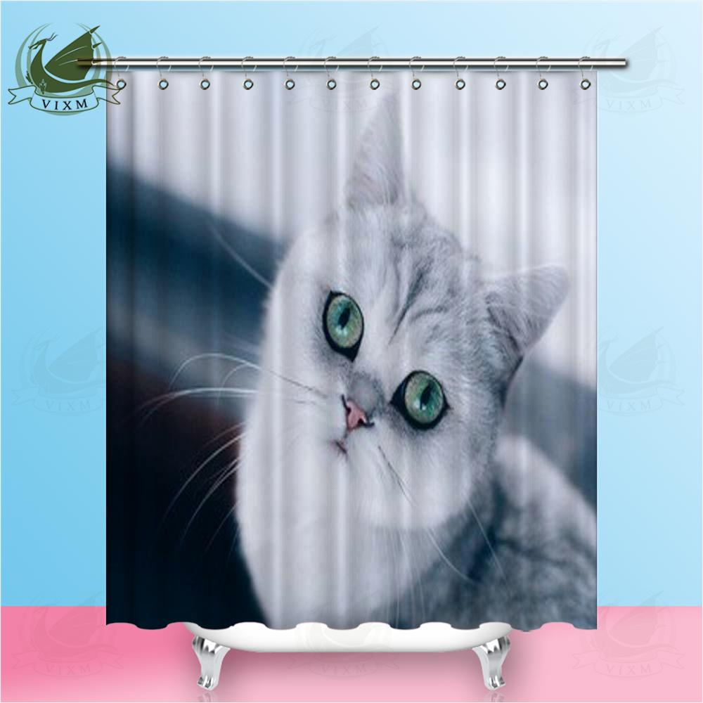 2018 Vixm British Ragdoll Blue Dot Cute Kitten Shower Curtains Polyester Fabric For Home Decor From Bestory 1665