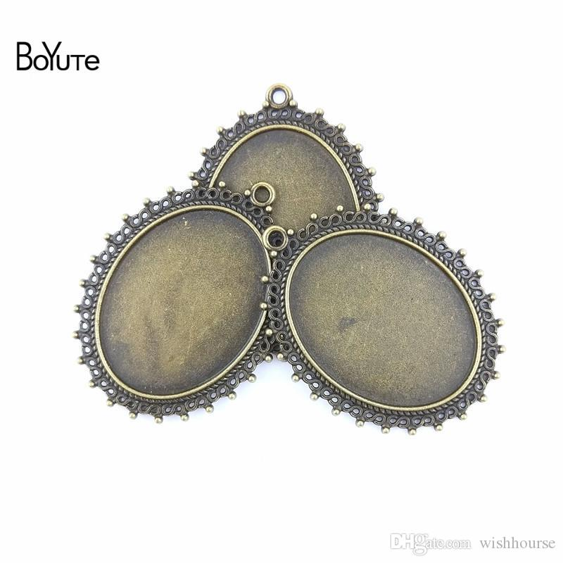 BoYuTe  40*30MM Cabochon Base Zinc Alloy Antique Bronze Plated Blank Pendants for Jewelry Findings & Components Diy Necklace