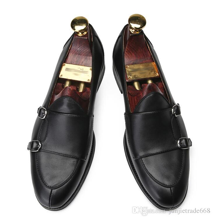 High End Handmade Genuine Leather Monk Loafers Double Buckle Row Cloak  Business Dress Shoes Suede Shoes Pumps Shoes From Junjietrade668 1880e134e88