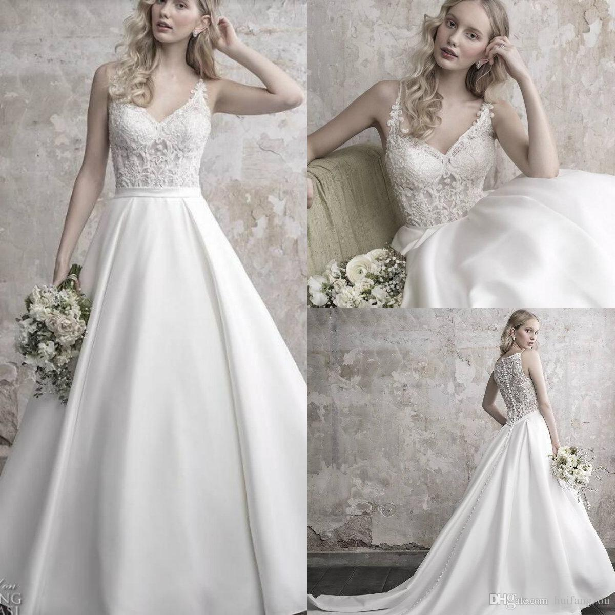 Discount 2019 Brand New Wedding Dress Fancy Spaghetti Illusion Lace  Applique Beads Satin Sweep Train Bridal Gowns Custom Made Vestido De Noiva  Bridal Wear ... 70486817a92e