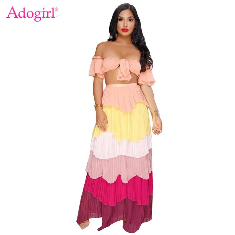 312f5fc7f1d2 2019 Adogirl Women Sexy Two Piece Set Off Shoulder Front Tie Crop Top Layer Ruffles  Maxi Skirt Club Outfits Party Dress From Ziron, $45.18 | DHgate.Com