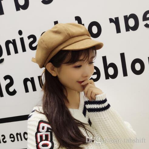 1f17640aa63 Autumn Winter Beret For Children Girl Vintage Newsboy Painter Hat Female  Beret Bow Pumpkin Octagonal Hat UK 2019 From Tabshift