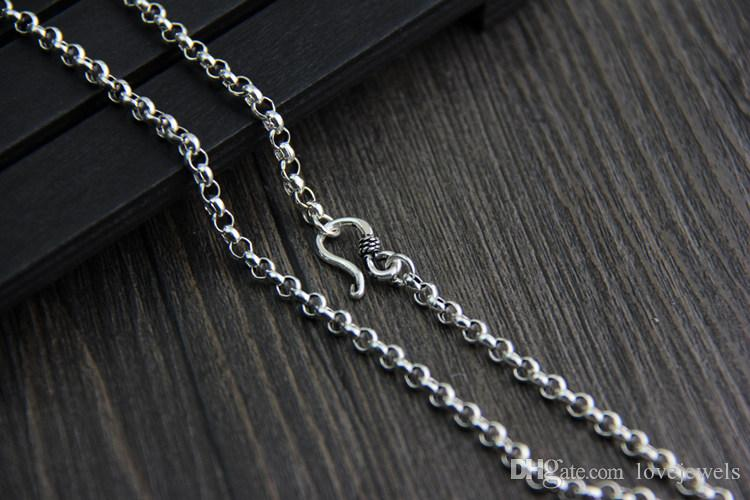 vintage jewelry 925 sterling silver neckace 3.5mm 45-80cm fashion Retro marcasite necklace long sweater chain men and women o ring chain