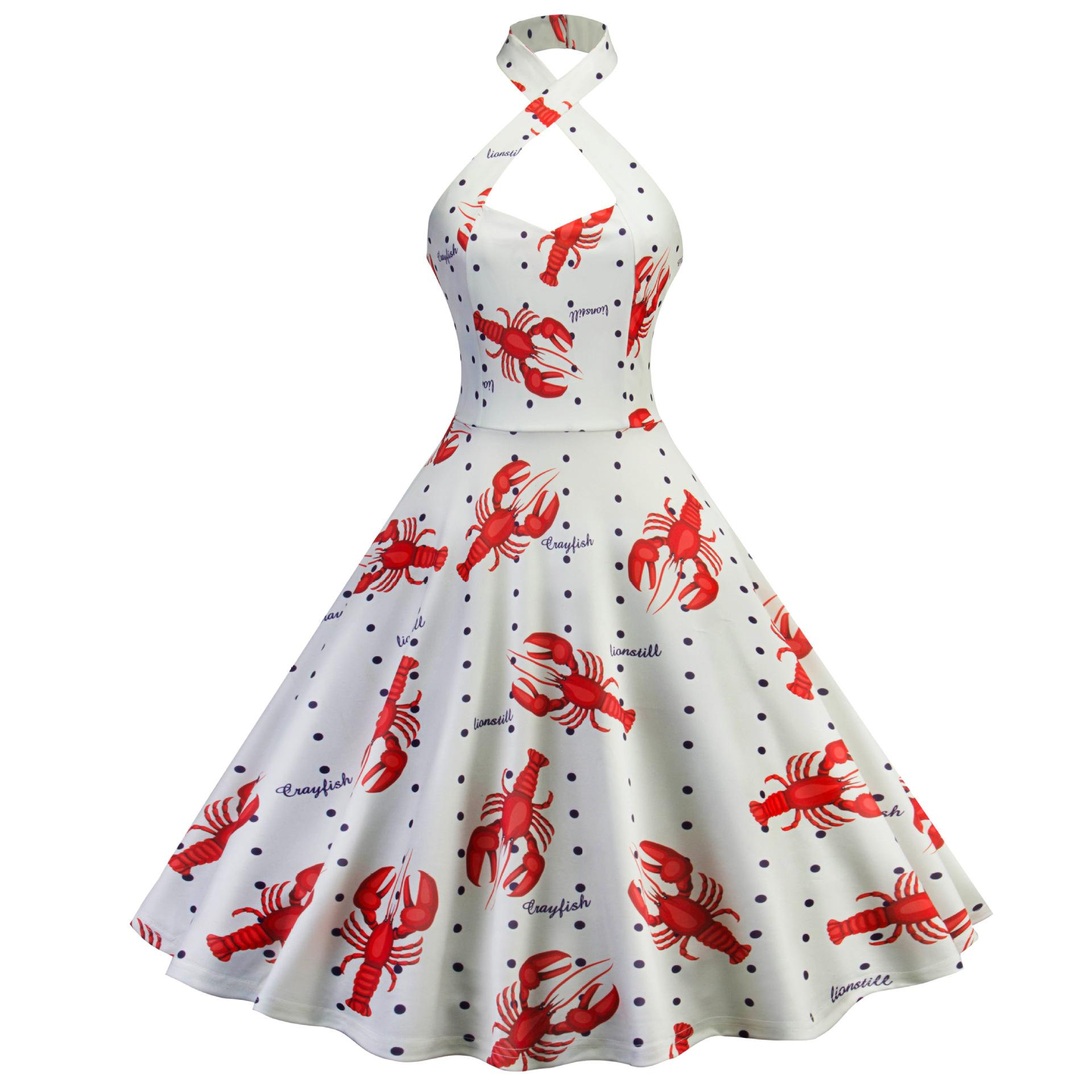 4fa1c4415fe1b Lobster Printed Robe Femme Vintage 50s Rockabilly Dress 60s Pinup Elegant  Party Halter 2018 Summer Dresses For Women Big Swing Casual Dress Chiffon  Dresses ...