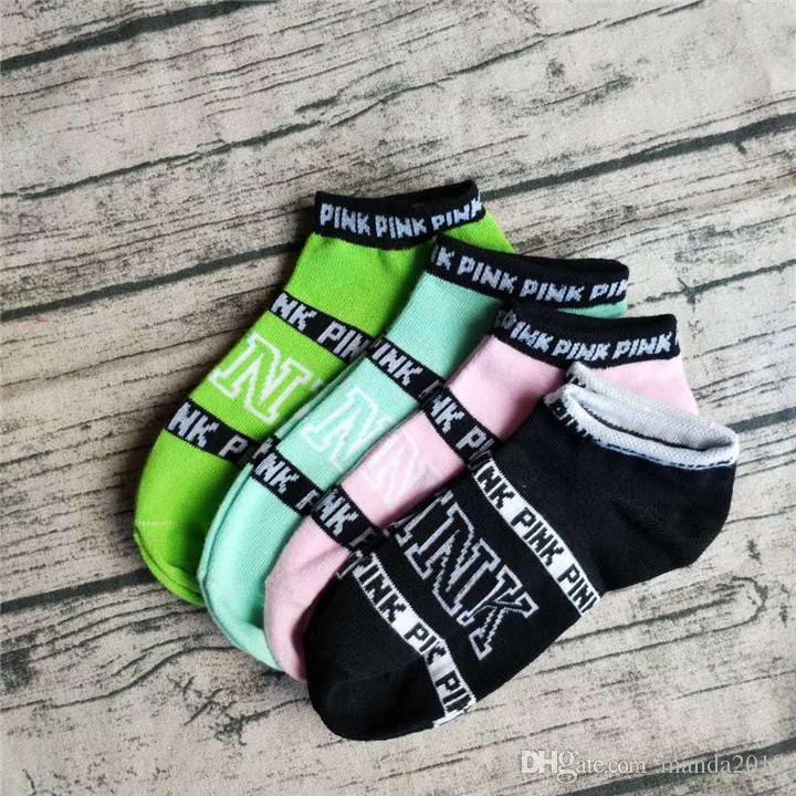 =Pink Letter Socks Pink Anklet Sports Hosiery Cotton Fashion Short Socks Slipper Girl Sexy Love Pink Ship Socks Soft Underwear