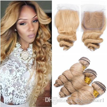 3/4 Bundles With Closure Indian Curly Bundles With Closure #27 Honey Blonde Color Human Hair Weave 3 Bundles With 4x4 Lace Closure Double Weft Hair
