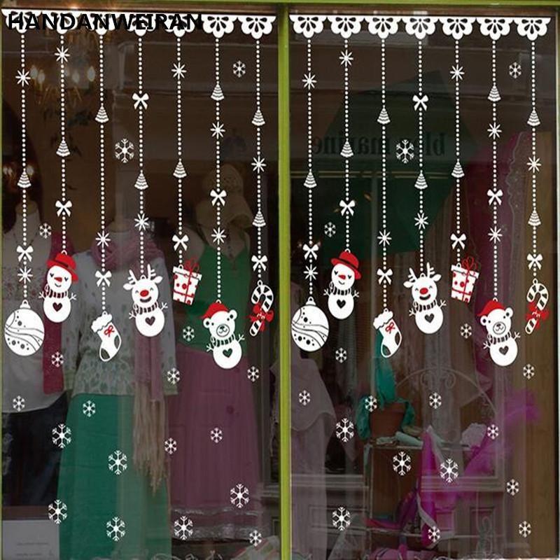Compre Decoraç u00e3o Da Janela Da Loja De Natal Adesivos De Natal Adesivos De Vidro Enfeites De Neve  -> Decoração De Natal Vitrine Loja