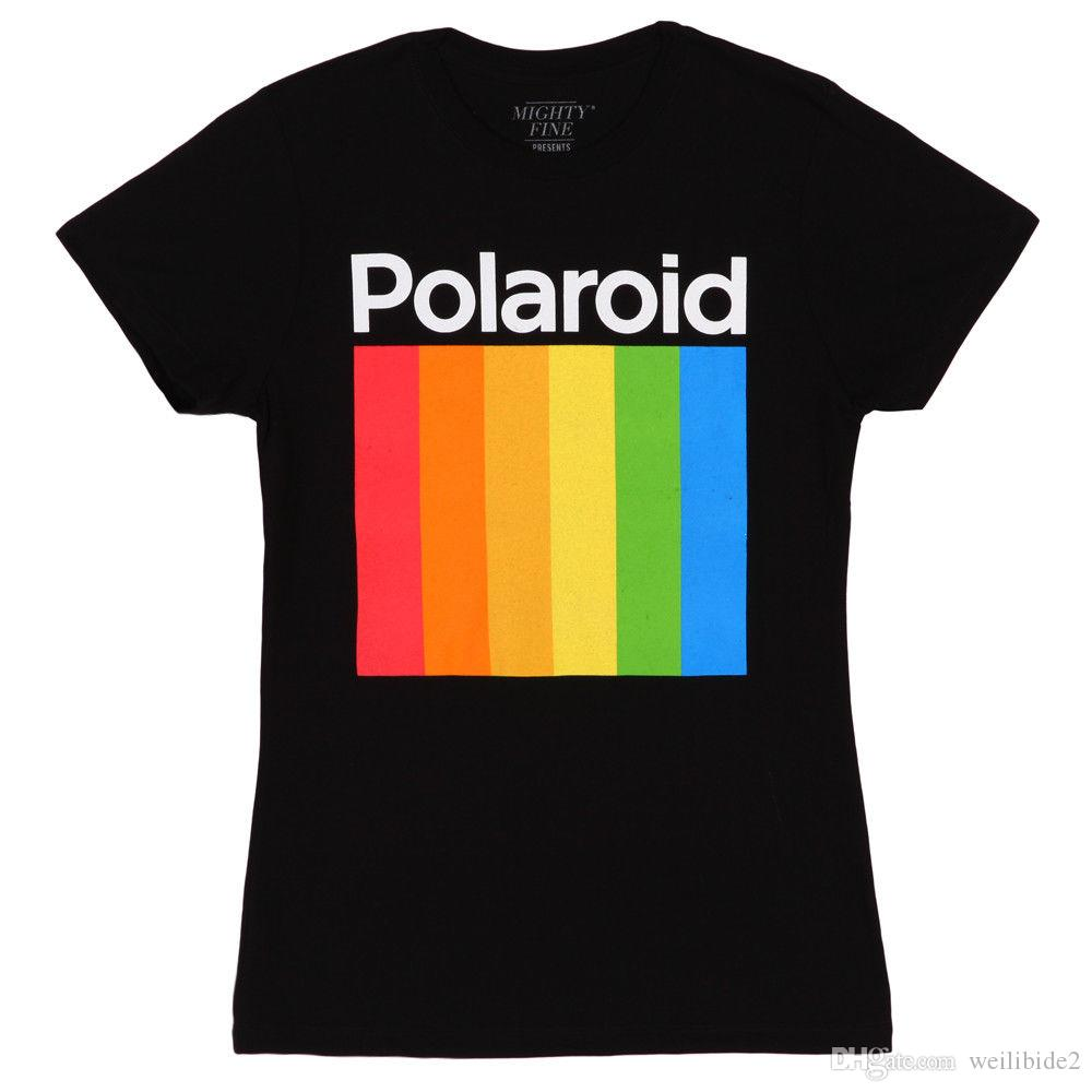 59fb1dc9ba Polaroid Rainbow Stripe Logo Officially Licensed Women's Junior T-Shirt - Black  Shirts Homme Novelty T shirt Men Youth