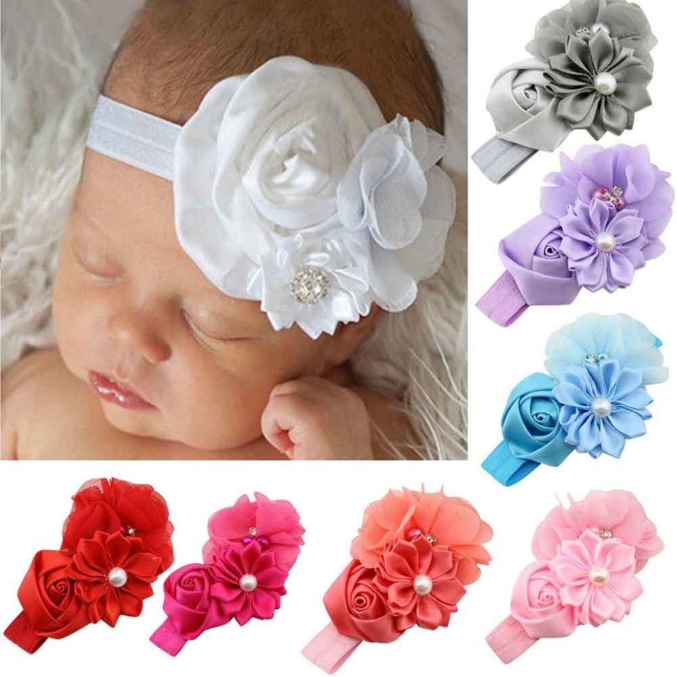 2018 Cheap Fashion Hearwear For Kids Girls Pearl Flower Pattern
