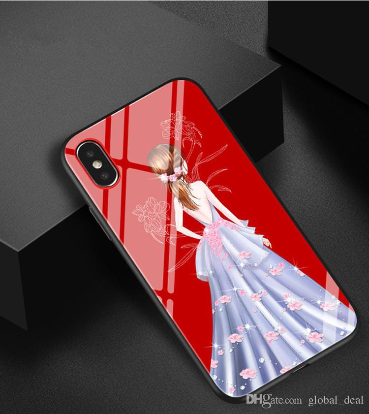 Colored Pattern Goddess Wedding Dress Case Fashion Tempered Glass Soft Silicon Women Girl Cover For iPhone 6 6s 7PLus 8 x