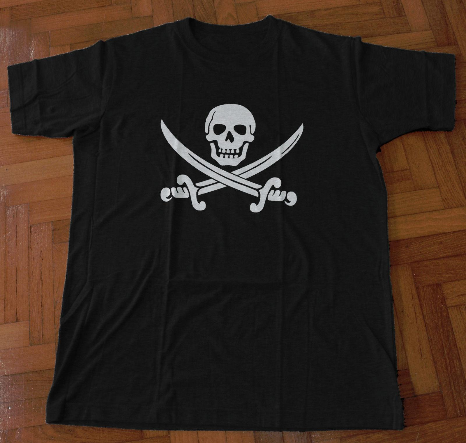 10437c4e3abb1 Jolly Roger Screen Printed T Shirt Pirate Calico Jack Skull Cross Swords  Sails Funny Unisex Casual Gift Design And Order T Shirts Gag T Shirts From  ...