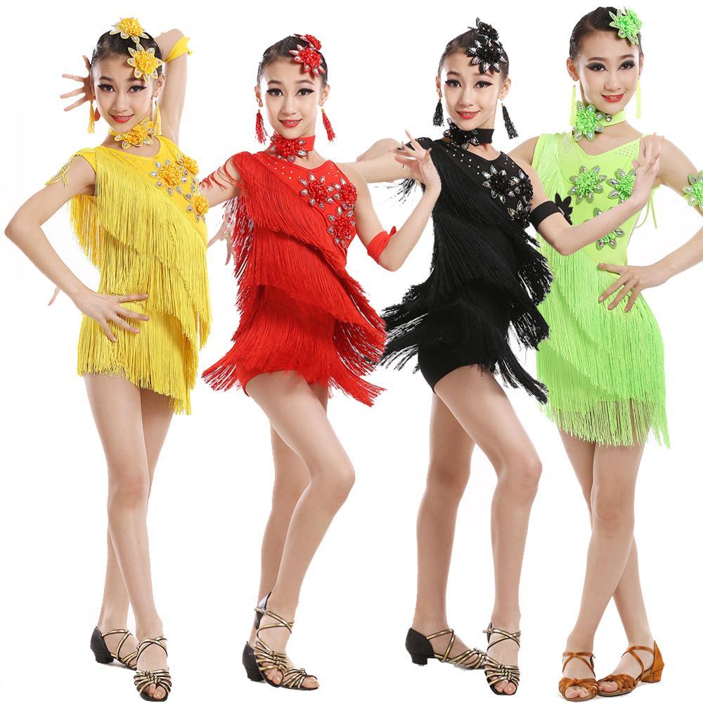 b84d616a8136 2019 Child Girls Sexy Latin Tassels Sequined Dancing Dress Kids Samba  Competition Ballroom Salsa Latin Dance Wear Costumes From Qingchung, $28.19  | DHgate.