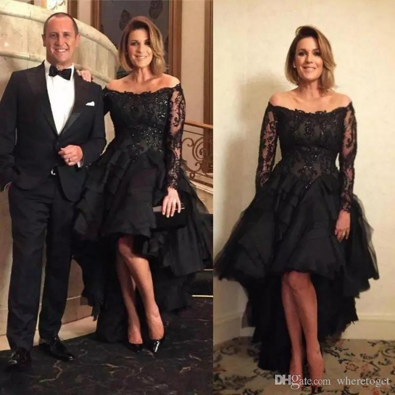 2019 black high low evening dresses long sleeves off shoulder lace ruffles tulle skirt plus size formal prom party gowns wear