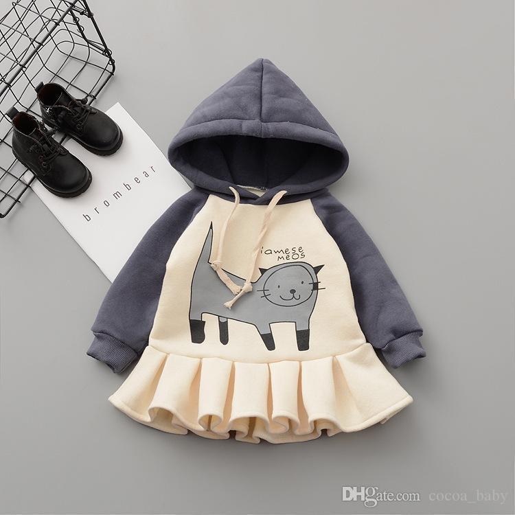 725a5bd4fe93 Children Cute Hooded Dress Girl Cartoon Long Hoodie Baby Thick ...