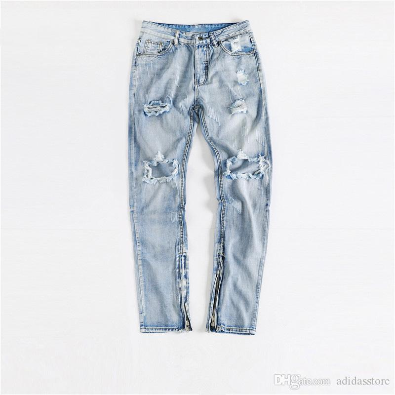 64589124d7040 2019 Man Streetwear High Quality New Hip Hop Fashion Skinny Jeans Knee Big  Holes Ripped Denim Trousers Men Distressed Jeans From Adidasstore