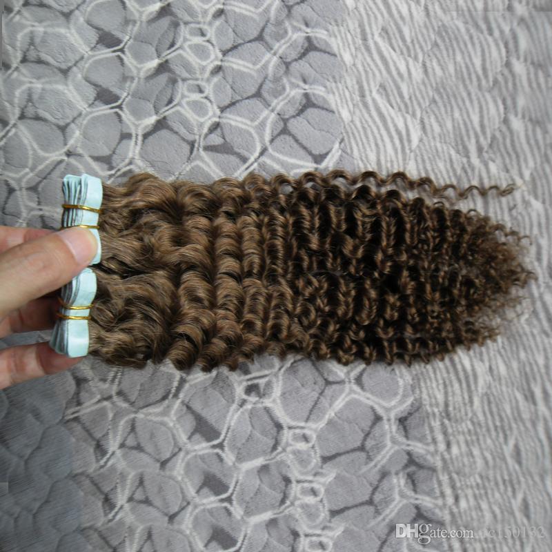 # 6 Medium Brown afro verworrene lockige Band Haarverlängerungen 100g / Set mongolische verworrene lockige Haut Schuss Menschenhaar-Maschine gemacht Remy