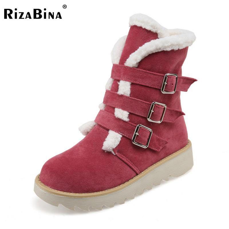 cd5ab91059 RizaBina Size 33 43 Women Half Short Snow Boots Thick Fur Shoes Winter  Botos Metal Buckle Flats Boots Short Botas Women Footwear Mens Dress Boots  Green ...
