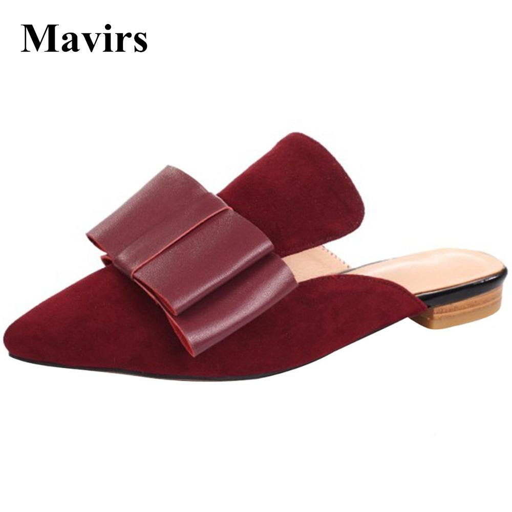 8dddb5b97912f MAVIRS 2017 Fashion Bow Embellished Women Mules Slippers Flats Casual Shoes  Suede Backless Slip On Loafers Flat Womens Sandals Walking Boots From  Dealbag, ...