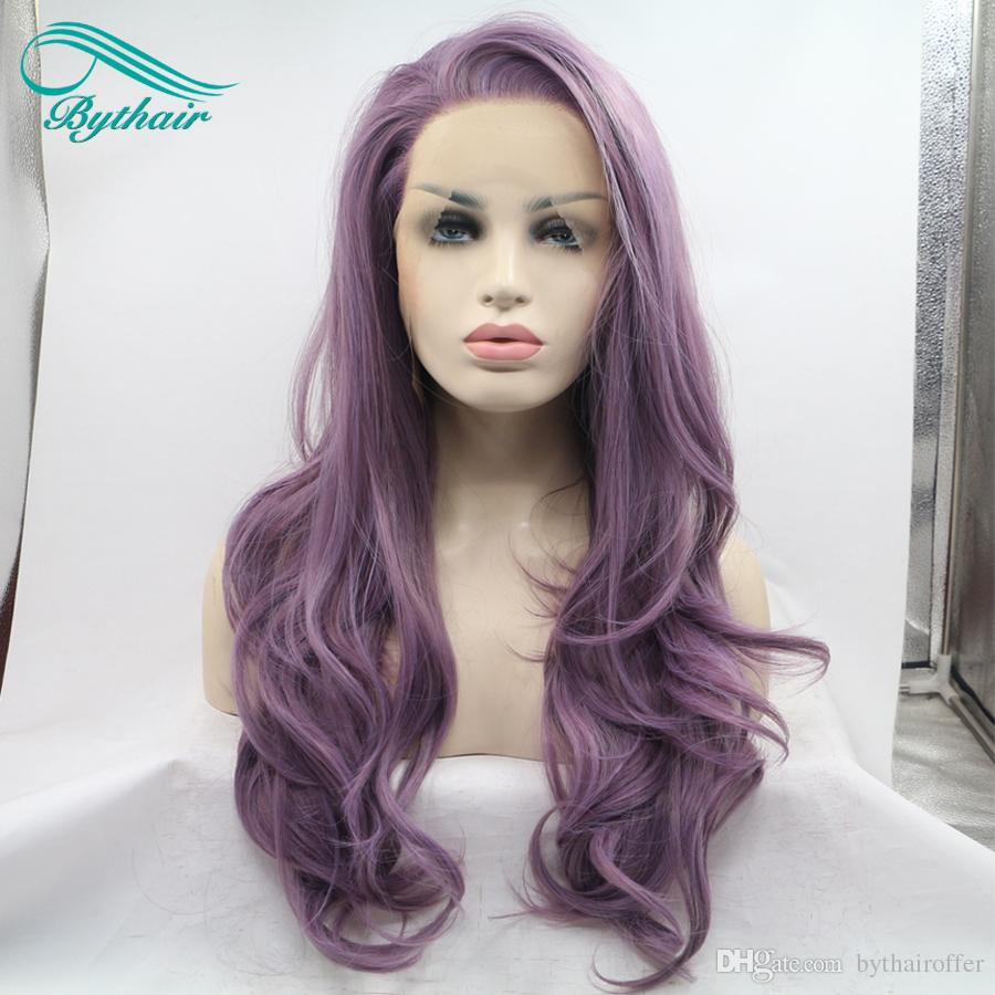 Bythairshop Largo cuerpo Onda Color púrpura Peluca delantera del cordón sintético Media mano Atado Hinchable Fibra resistente al calor Cosplay peluca de pelo