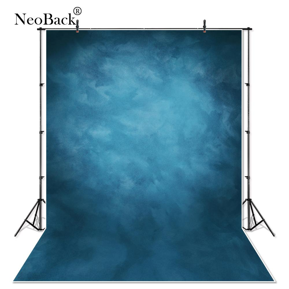 NeoBack 5X7 Vinyl Cloth Photography Backdrop Red Background Studio Misty Blue Portrait Photo Backdrop Wedding P1410