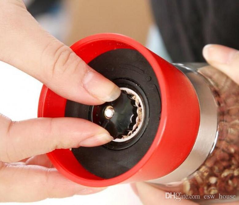 Nuevo manual de vidrio pimienta sal especia amoladora molino de mano molino de hierbas de alta calidad envío gratis